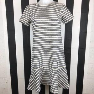 LOFT Tweed Striped Drop Waist Mini Dress